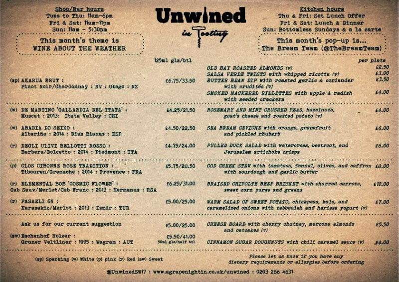 Unwined Tooting Menu